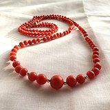 欧洲回流意大利红珊瑚长款项链77cm圆珠4 10mm