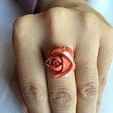 18k金镶嵌momo莫莫珊瑚玫瑰花美国老库存戒面戒指