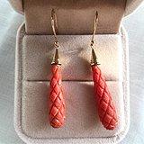 意大利沙丁红珊瑚14K金镶嵌雕刻水滴型*耳坠耳钩乔治王时期