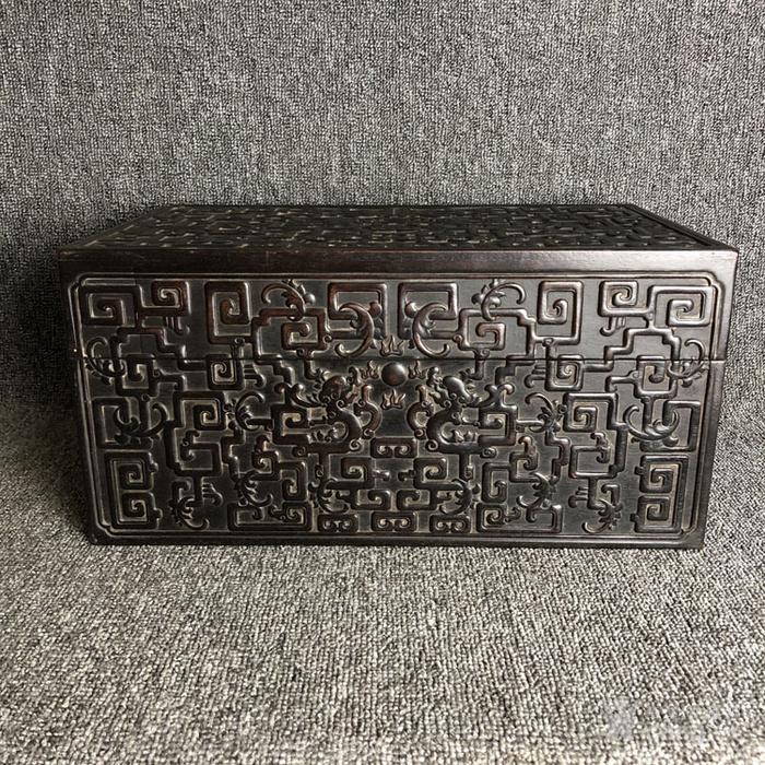 清代紫檀满工雕刻龙纹捧盒摆件古玩杂项紫檀图1
