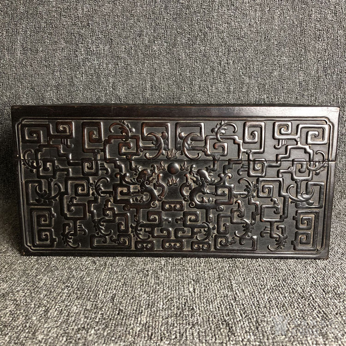 清代紫檀满工雕刻龙纹捧盒摆件古玩杂项紫檀图2