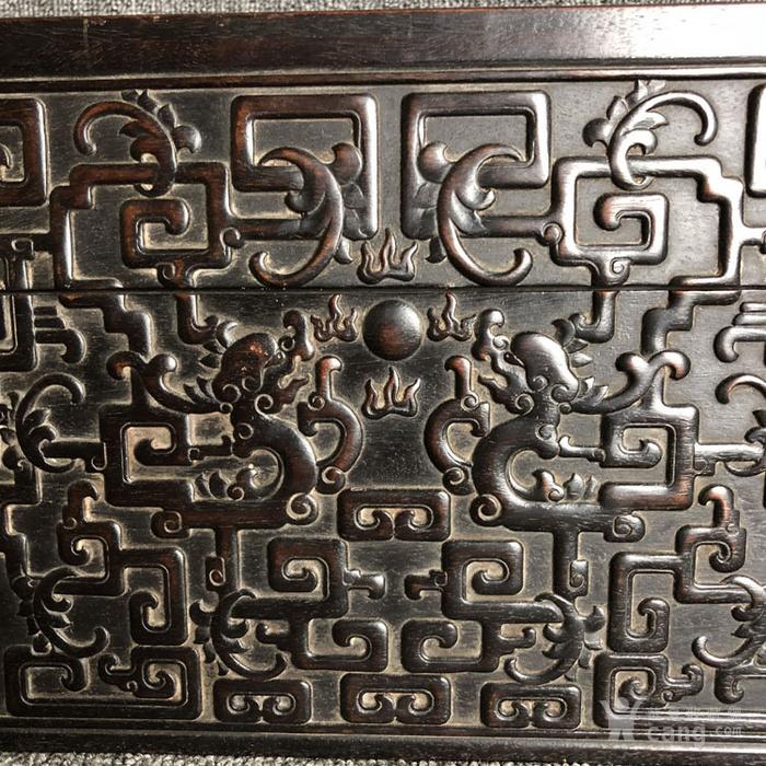 清代紫檀满工雕刻龙纹捧盒摆件古玩杂项紫檀图3