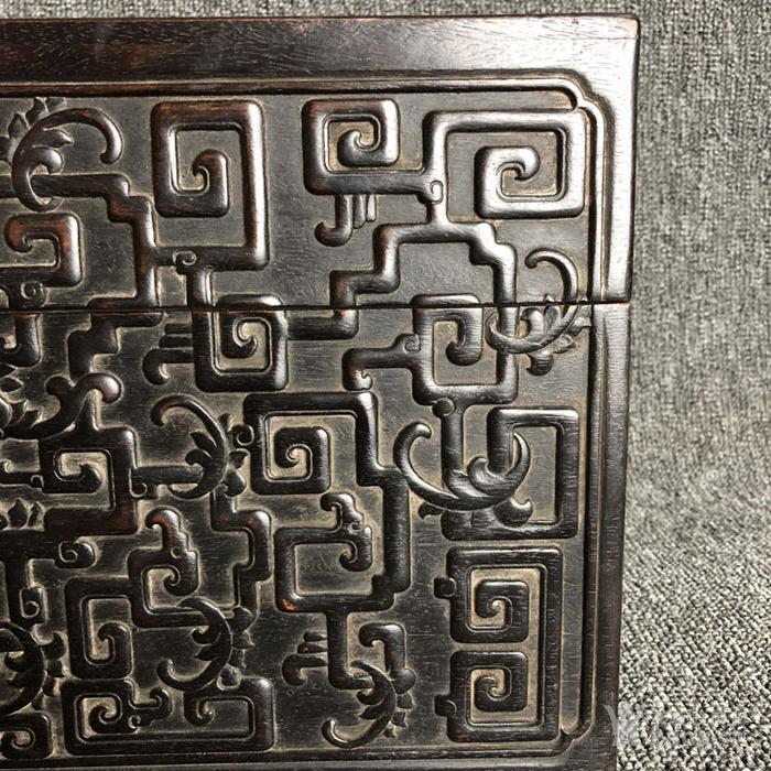 清代紫檀满工雕刻龙纹捧盒摆件古玩杂项紫檀图4