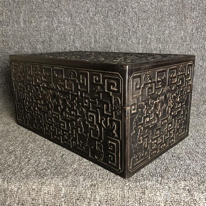 清代紫檀满工雕刻龙纹捧盒摆件古玩杂项紫檀图5