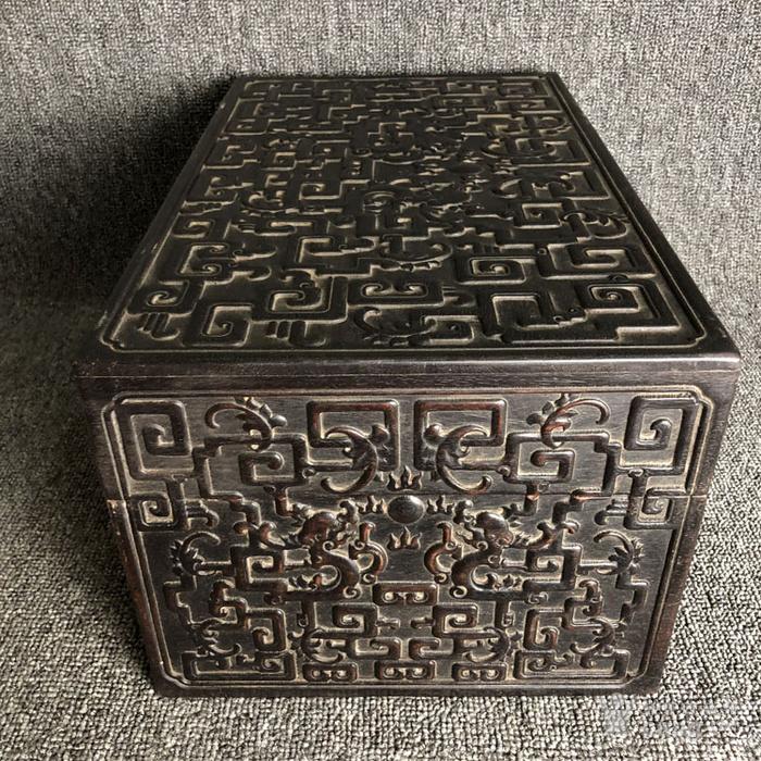 清代紫檀满工雕刻龙纹捧盒摆件古玩杂项紫檀图7
