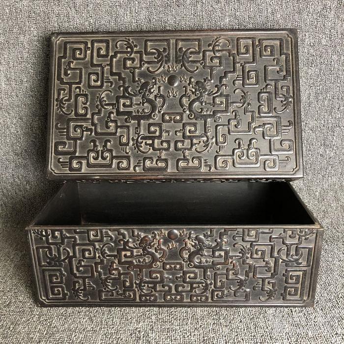 清代紫檀满工雕刻龙纹捧盒摆件古玩杂项紫檀图8