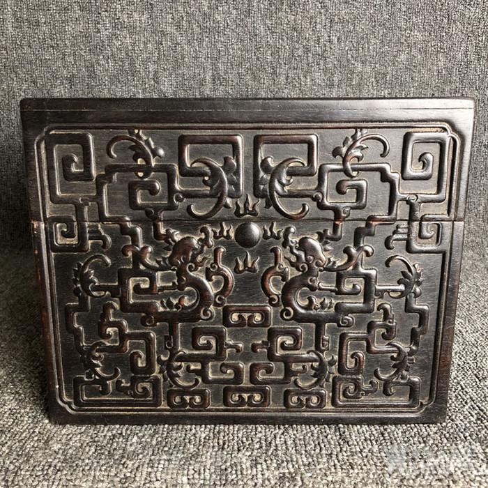 清代紫檀满工雕刻龙纹捧盒摆件古玩杂项紫檀图6