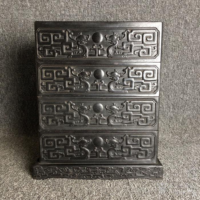 清代传世紫檀满工雕刻龙纹多层捧盒收纳盒古玩杂项紫檀盒图1