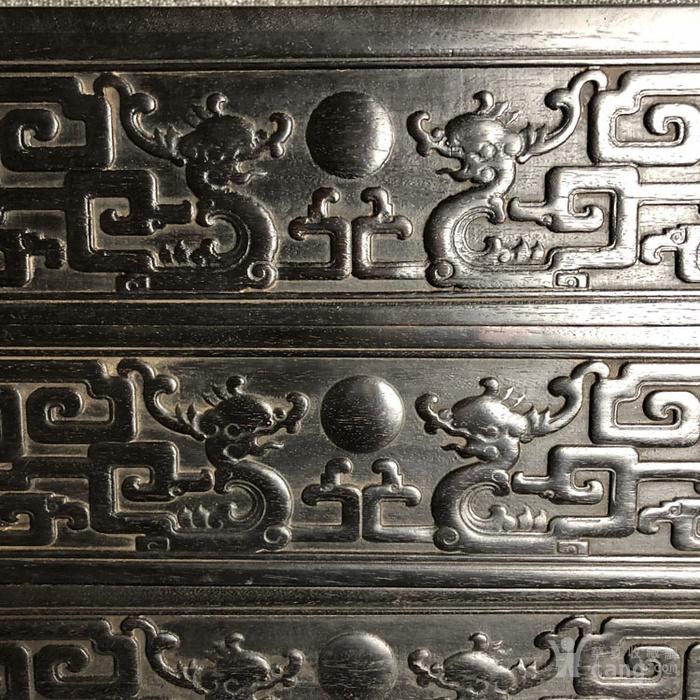 清代传世紫檀满工雕刻龙纹多层捧盒收纳盒古玩杂项紫檀盒图3