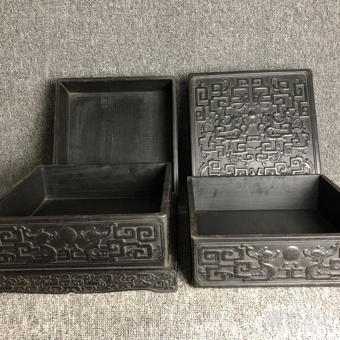 清代传世紫檀满工雕刻龙纹多层捧盒收纳盒古玩杂项紫檀盒图6