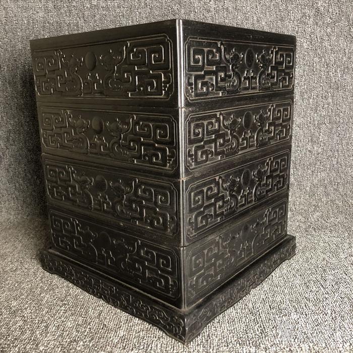 清代传世紫檀满工雕刻龙纹多层捧盒收纳盒古玩杂项紫檀盒图5
