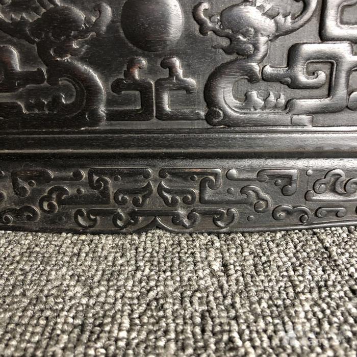 清代传世紫檀满工雕刻龙纹多层捧盒收纳盒古玩杂项紫檀盒图4