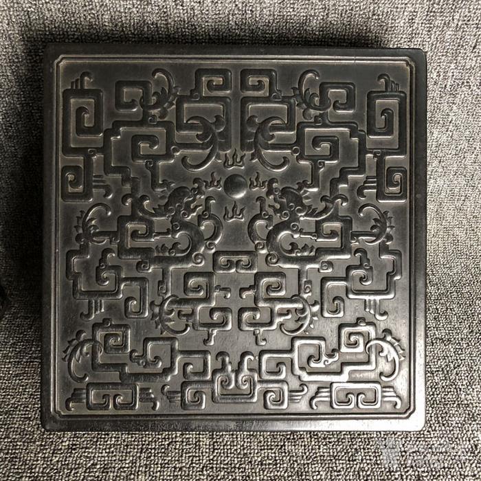 清代传世紫檀满工雕刻龙纹多层捧盒收纳盒古玩杂项紫檀盒图8