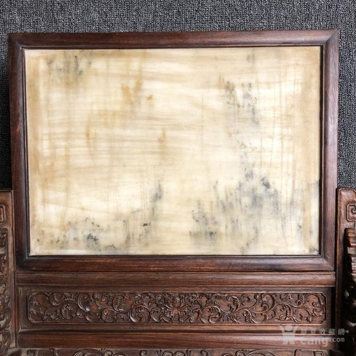 清代传世满工雕刻嵌云母石屏风古玩杂项黄花梨屏风摆件图2