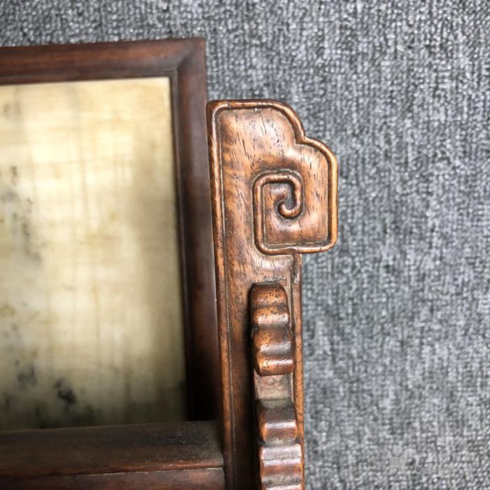 清代传世满工雕刻嵌云母石屏风古玩杂项黄花梨屏风摆件图9