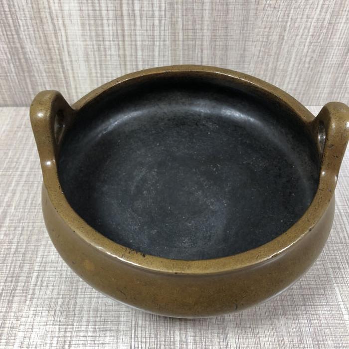 清代传世紫铜素面宣德款香炉压经炉摆件古玩杂项老香炉摆件图3