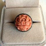莫莫momo珊瑚牡丹花造型银掐丝镶嵌活口戒指美国回流