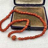 欧洲回流乔治时期14k金镶嵌意大利沙丁红珊瑚项链手链两用
