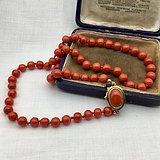 1950年意大利产AA级沙丁红珊瑚项链18k金镶嵌搭扣
