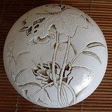 清代雕塑白瓷 莲池印泥盒