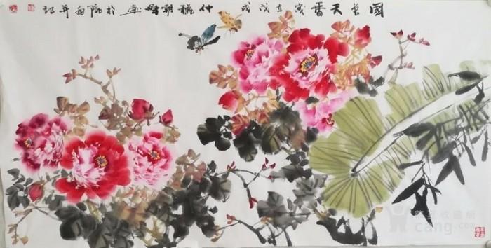 甘肃美协杨朝晖  183 四尺花鸟牡丹图1