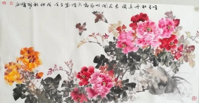 甘肃美协杨朝晖  183 四尺花鸟牡丹图5