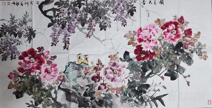 甘肃美协杨朝晖  183 四尺花鸟牡丹图7