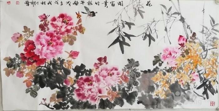 甘肃美协杨朝晖  183 四尺花鸟牡丹图3