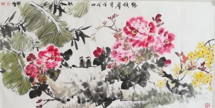 甘肃美协杨朝晖  183 四尺花鸟牡丹图4