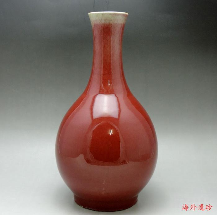 清 中晚期 钧红釉 红釉胆瓶 37.5厘米图1