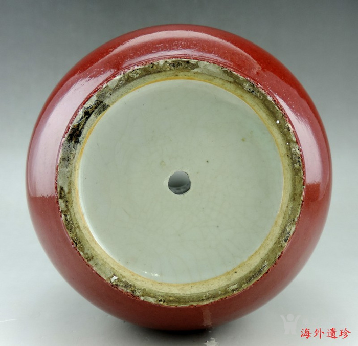 清 中晚期 钧红釉 红釉胆瓶 37.5厘米图5