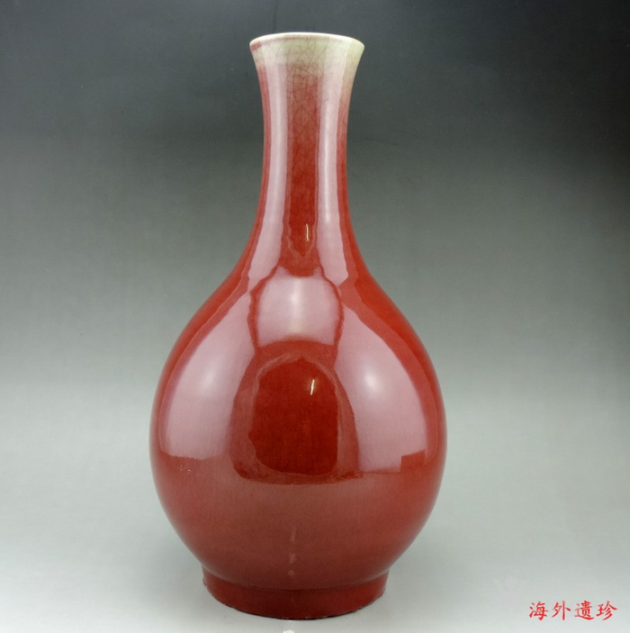 清 中晚期 钧红釉 红釉胆瓶 37.5厘米图12