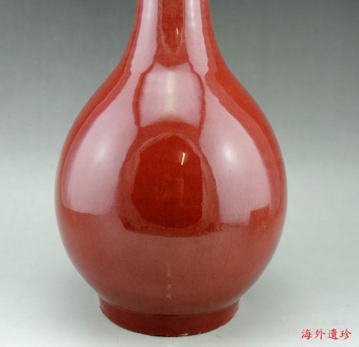 清 中晚期 钧红釉 红釉胆瓶 37.5厘米图3