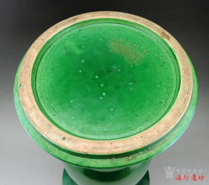 清 康熙 朗窑绿釉 绿朗窑 苹果青 花觚图5