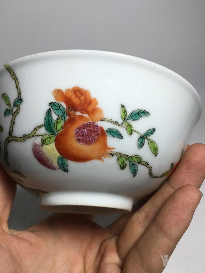 清代过墙纹花卉碗图3