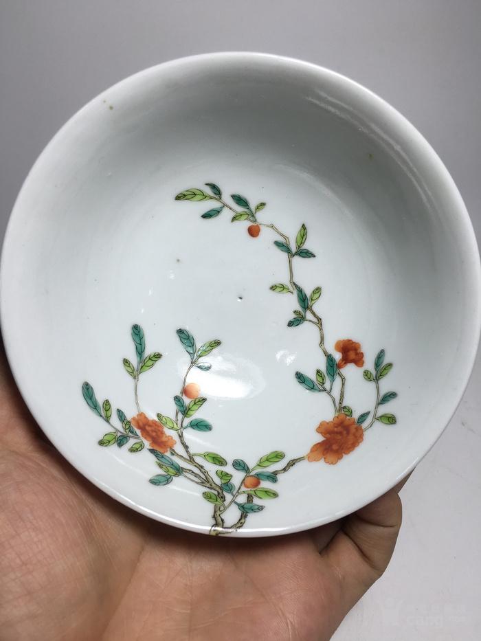 清代过墙纹花卉碗图5