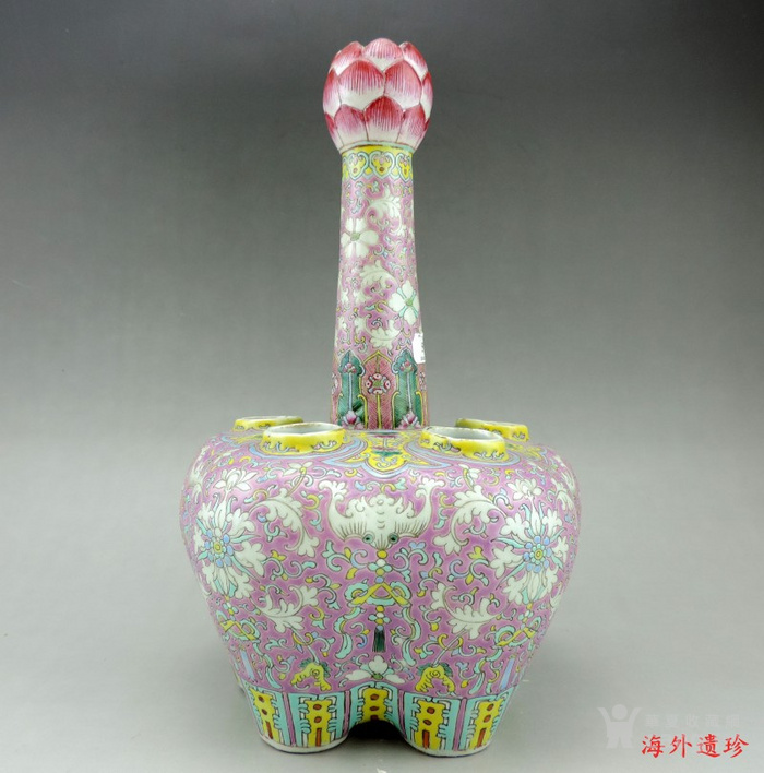 清代 粉彩缠枝莲纹五孔瓶 乾隆年制款图1