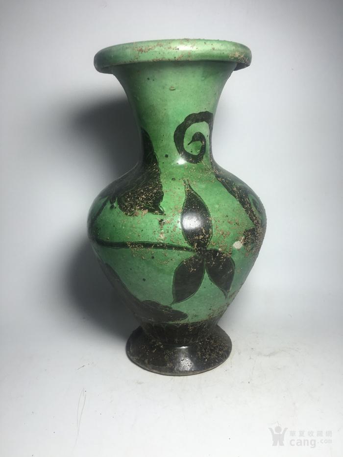 宋代磁州窑绿釉瓶图2