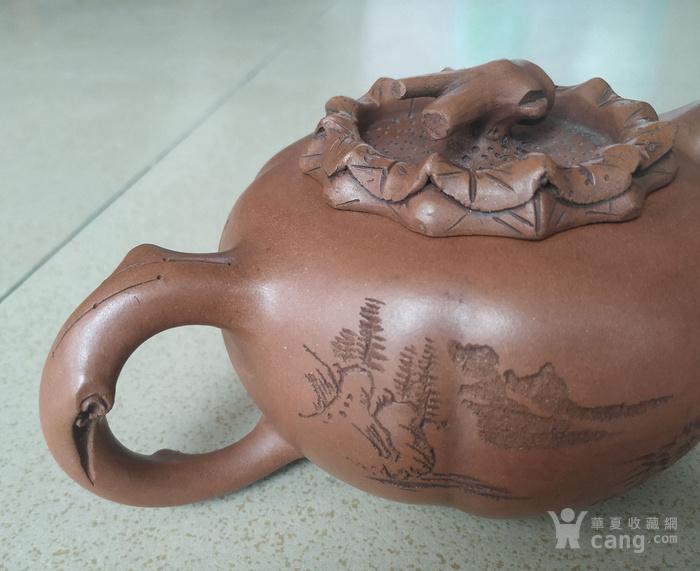 竹节盖瓜棱形诗文紫砂壶图5