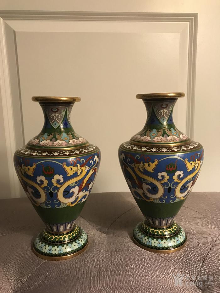 创汇期景泰蓝龙纹花瓶对瓶图1