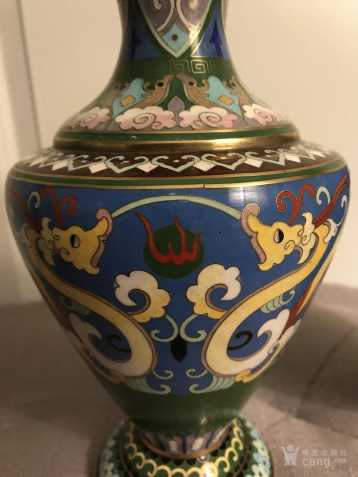创汇期景泰蓝龙纹花瓶对瓶图4