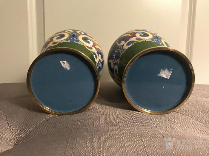 创汇期景泰蓝龙纹花瓶对瓶图6