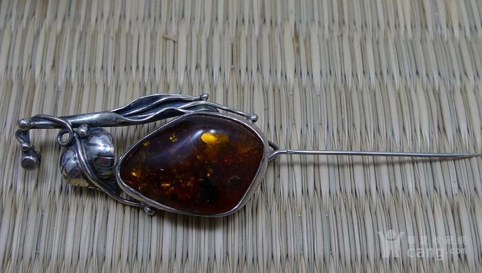 收藏级银镶天然琥珀胸针 吊坠图5