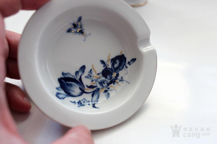 精 德国麦森Meissen青花金彩花觚式花瓶 烟缸套装图2