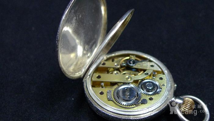 瑞士银壳刻花机械怀表图6