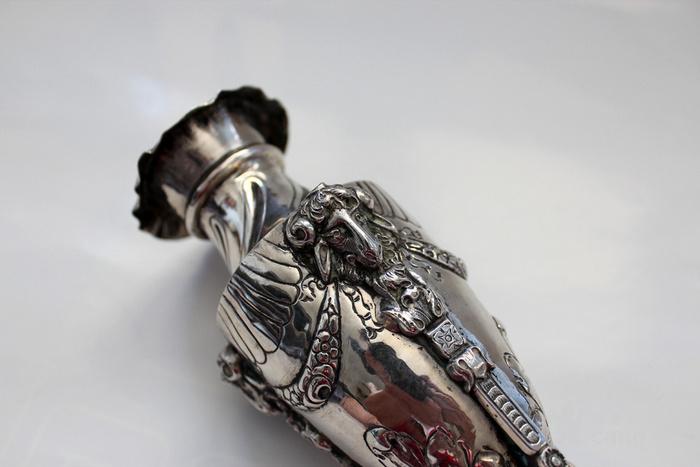 罕 银质纯手工花瓶 三阳开泰图2