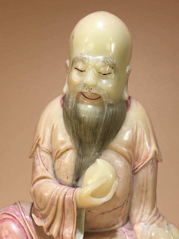 清代寿山石雕东方朔偷桃造像 明清石雕人物像清代寿山石精品图2