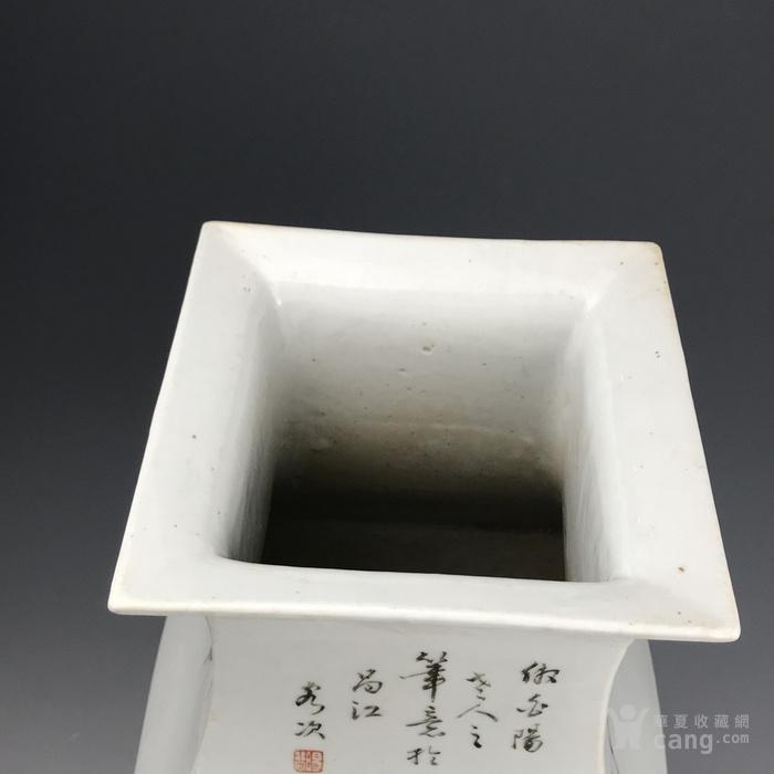清代 罗阳谷浅降彩花鸟兽耳方瓶图11