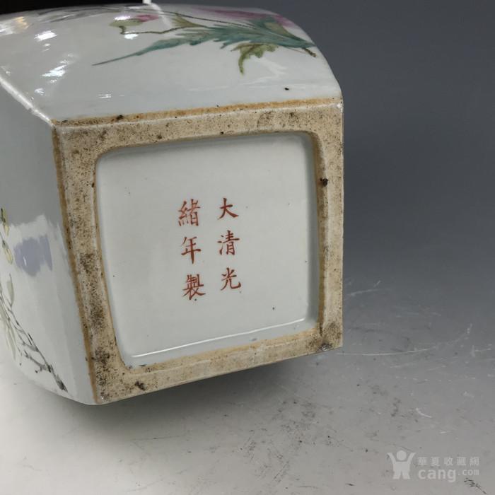 清代 罗阳谷浅降彩花鸟兽耳方瓶图12