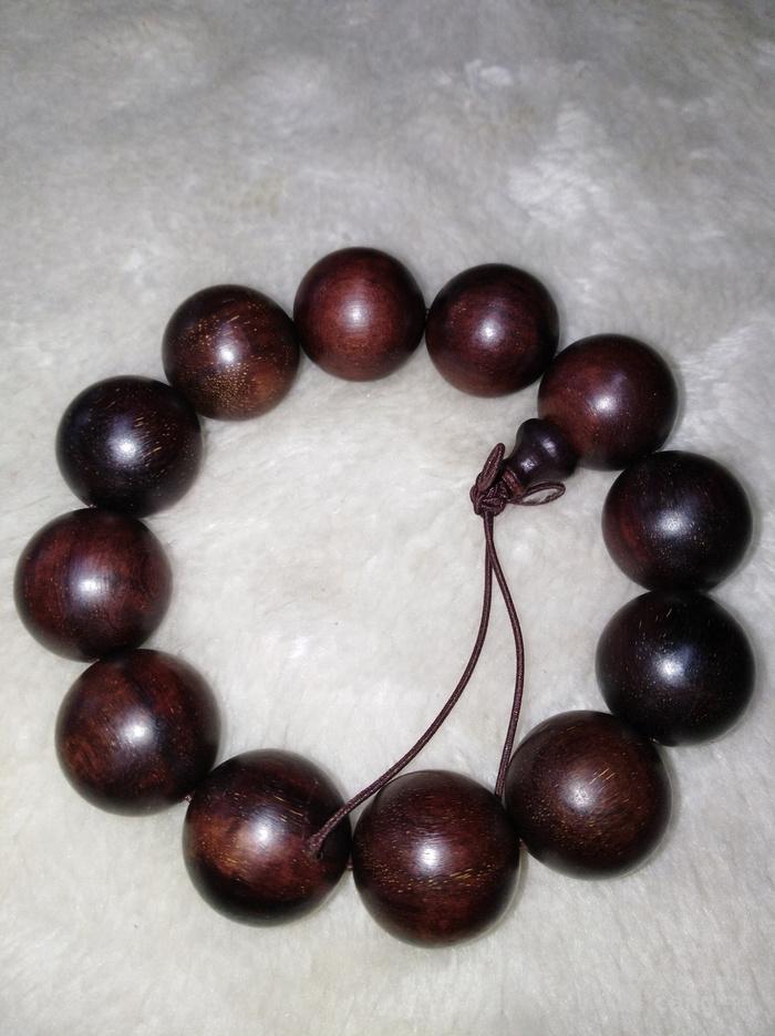 印度紫檀木雕2.0手串包真紫檀珠子直径2厘米图1